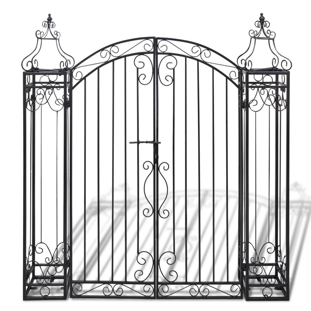 Festnight Ornamental Iron Garden Driveway Entry Gate, 4' x 8'' x 4' 5'', Black