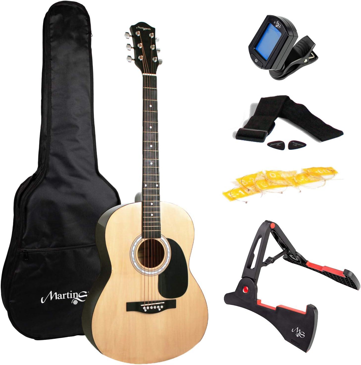 Martin Smith W-101-N-PK - Guitarra acústica de tamaño completo con soporte de guitarra