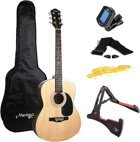 Martin Smith guitarra acústica con el soporte de guitarra guitarra sintonizador de la guitarra bolsa de púas de guitarra correa de la guitarra y las cuerdas de la guitarra naturales: Amazon.es: Instrumentos
