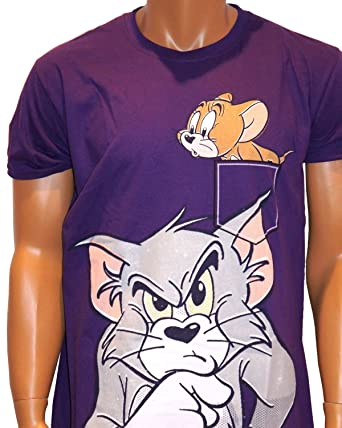 25e6bb25 Tom and Jerry Official Boys T-Shirts, Retro Vintage Print Tees Mens and  Ladies Urban Purple (Large): Amazon.co.uk: Clothing