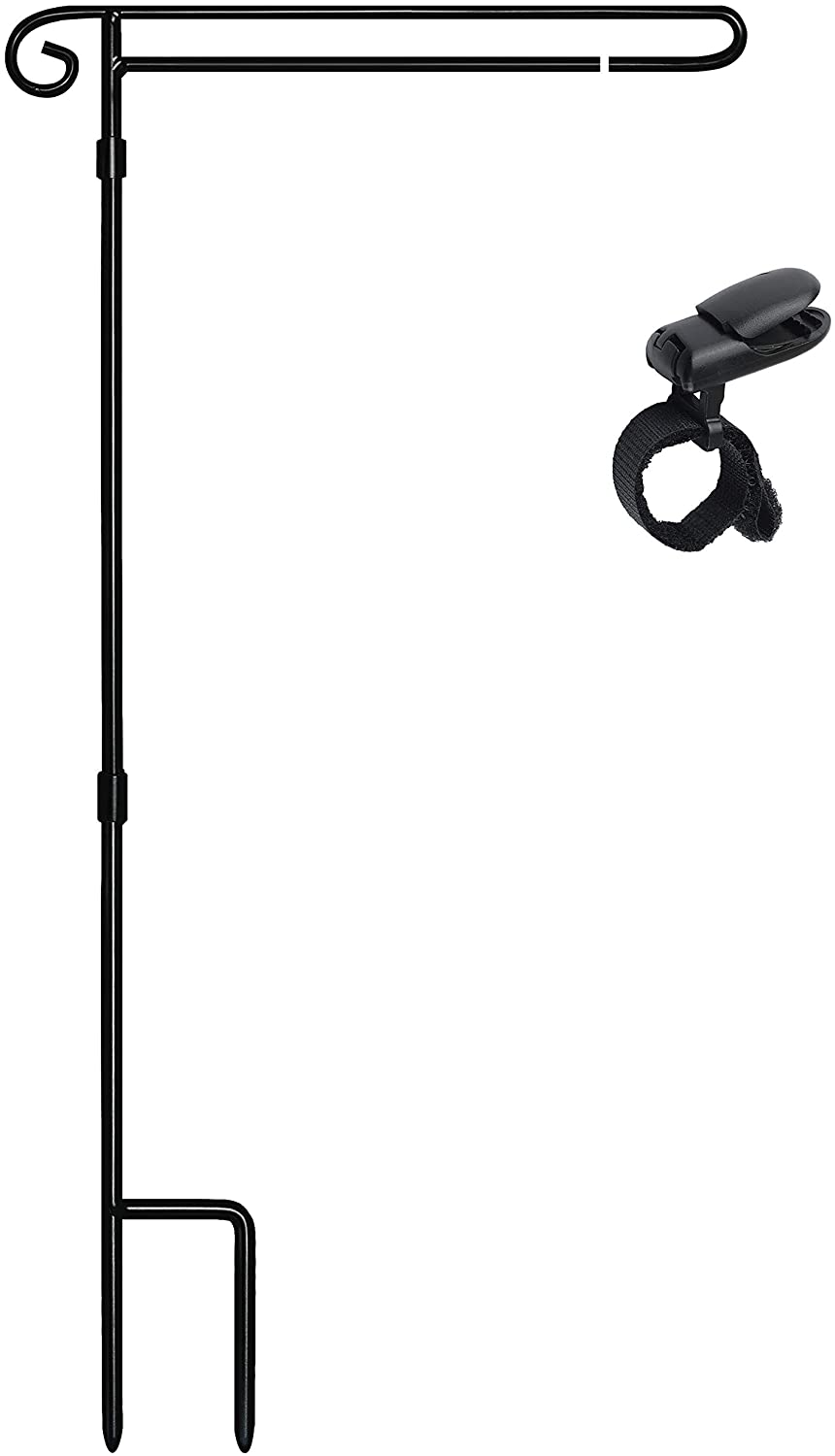 "HOOSUN Garden Flag Stand Holder Easy to Install Strong and Sturdy Wrought Iron Pole Fits Mini Flag 12.5"" x 18"" no Need Extra Accessories to Fixed Flag,Garden Flag Pole Without Flag"