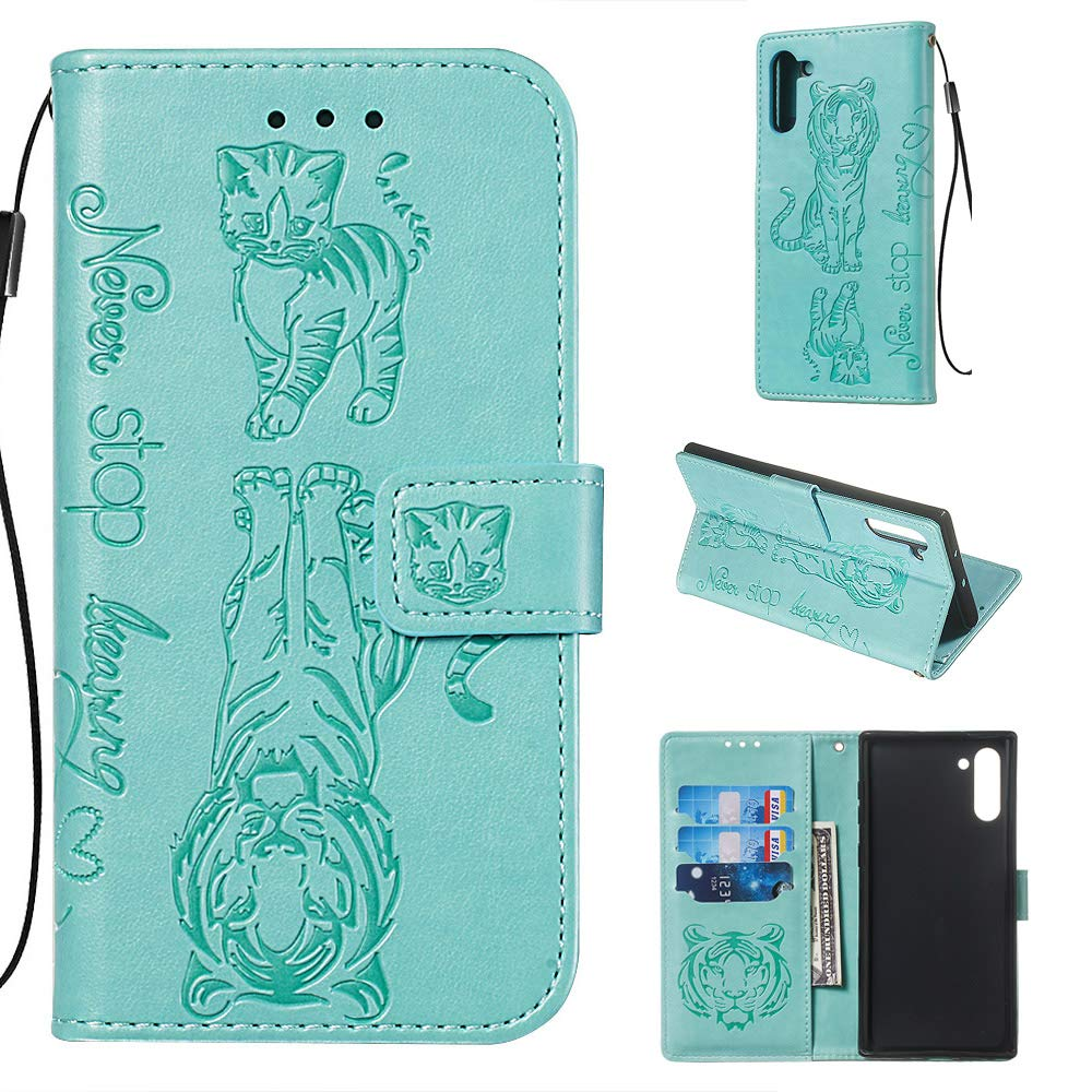 Tznzxm Galaxy Note 10 Case, Luxury 3D Embossed Cat Tiger PU Leather Magnetic Wallet Protective Flip Kickstand Cover with Credit Card Slots and Wrist for Samsung Galaxy Note 10 5G Mint Blue by Tznzxm