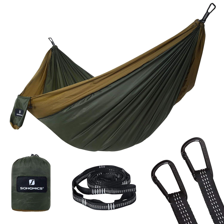 Camping Verde Ej/ército y Marr/ón GDC20AC para Mochilero Peso 650 g Hamaca Doble Port/átil Jard/ín Capacidad de Carga 300 kg Patio 275 x 140 cm SONGMICS Hamaca Ultraligera Senderismo