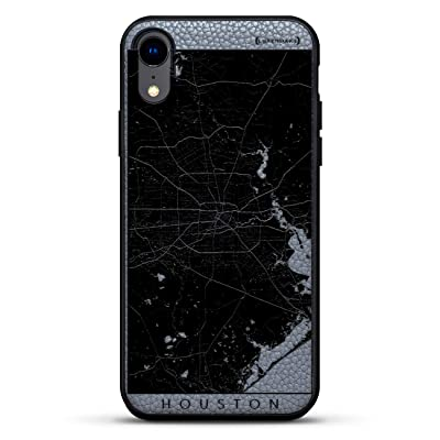 "MAPS: Houston Streets Map | Luxendary Leather Series Slim Edition Case w/Genuine Leather Back & 3D Printed Design for iPhone XR (6.1"") in Stone Gray"