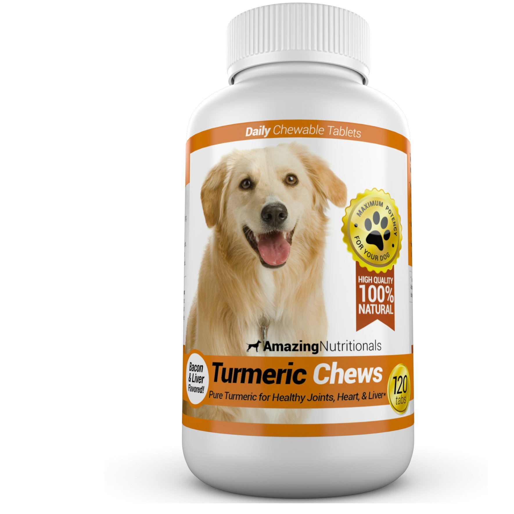 Amazing Turmeric for Dogs Curcumin Pet Antioxidant, Eliminates Joint Pain Inflammation, 120 Chews by Amazing Nutritionals