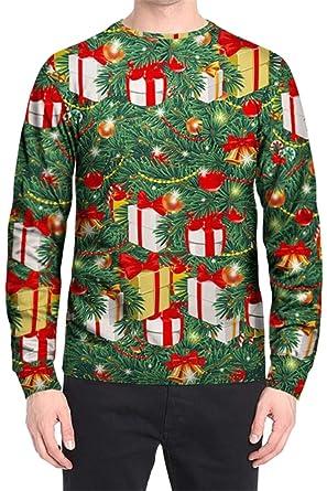 79d8d46b58ec4 SHOWNO Men s Couples Dress Round Neck Loose Fit Christmas Plus Size Floral  Print Pullover Sweatshirt Coat