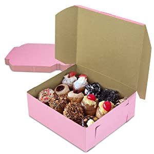 [25 Pack] Pink Bakery Boxes - 8 x 8 x 4 Inches Pink Cake Boxes - Pastry Box for Cupcakes, Desserts, Cookies, Candies - Ideal Packaging for Bakeries and Home-Made Baked Treats, Favors, and Gifts