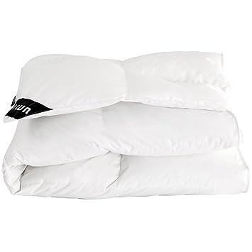 85138619d59ee0 Essentials Weiße Bettdecke aus Weißen Gänsefedern und -daunen aus Reiner  Baumwolle