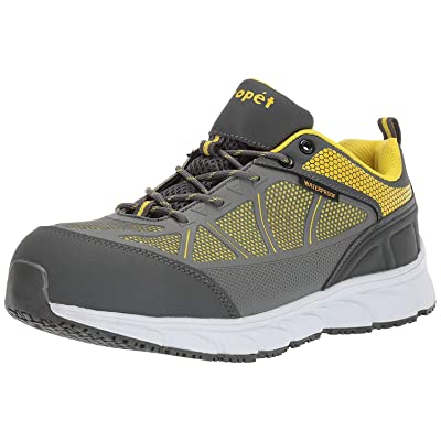 Propet Men's Seeley Construction Boot, Grey/Yellow, 7.5 5E US: Shoes