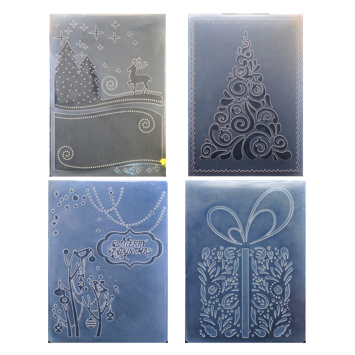 Kwan Crafts 4 pcs Different Style Christmas Deer Tree Giftbox Plastic Embossing Folders for Card Making Scrapbooking and Other Paper Crafts by Kwan Crafts
