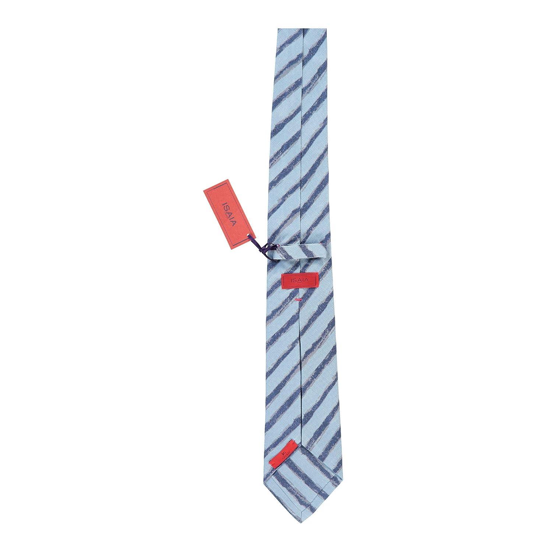 Isaia Napoli Men Dark Light Blue 100/% Silk Stripe 7 Fold Classic Tie RTL$235 NWT