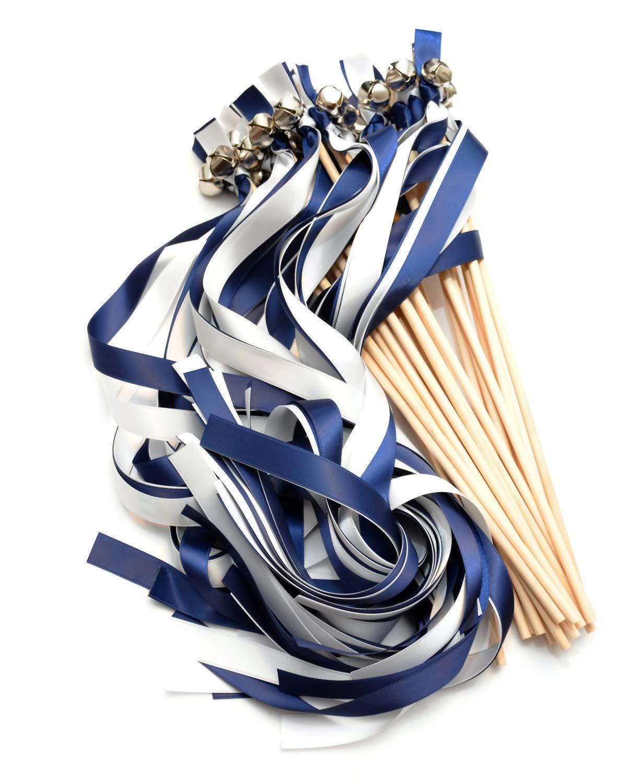 100 Navy & White Ribbon Silver Bell Wedding Wands #DivinityBraid #SendOffBells #WeddingWands #Wedding #Favors #CeremonySendOff #Party #KissingBells #RibbonWands