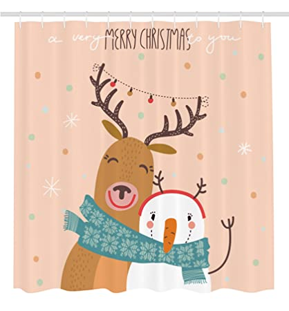 ambesonne christmas decorations collection best friend new year theme with hipster christmas characters deer and