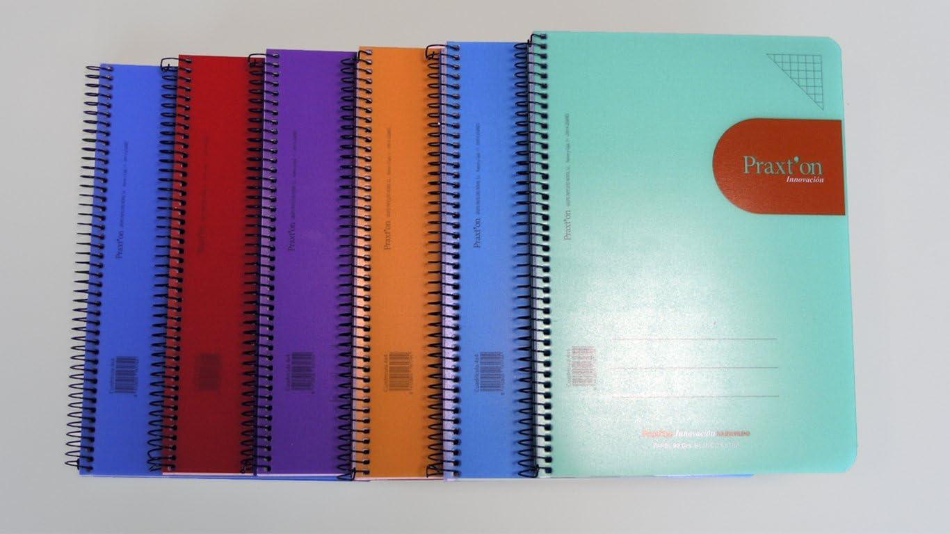 Cuadernos Espiral PRAXTON Innovación, 4º 80H Pautado 3,5 mm. Tapa Plástico, Pack x6: Amazon.es: Oficina y papelería
