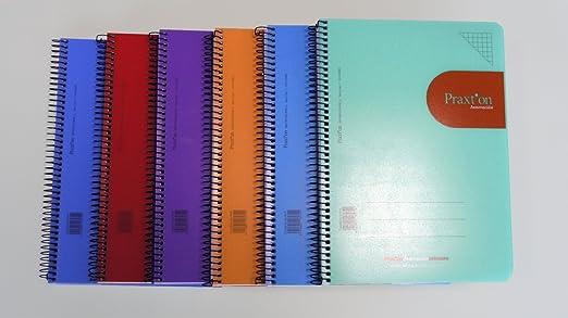 Cuadernos Espiral PRAXTON Innovación, 4º 80H Cuadros 3 mm. Tapa Plástico, Pack x6: Amazon.es: Oficina y papelería