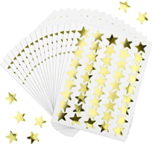 100 Sheets 4500 Counts Foil Star Stickers Reward Star Stickers Labels for Home, School, Bar, DIY and Office Decoration (Gold)