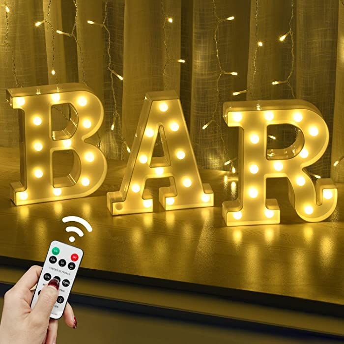 Rdutuok LED Marquee Letters Lights BAR Sign Remote Control Letter Lamp for BAR Pub Home Party Wedding Decoration Battery Powered Christmas Lamp Home Bar Decoration
