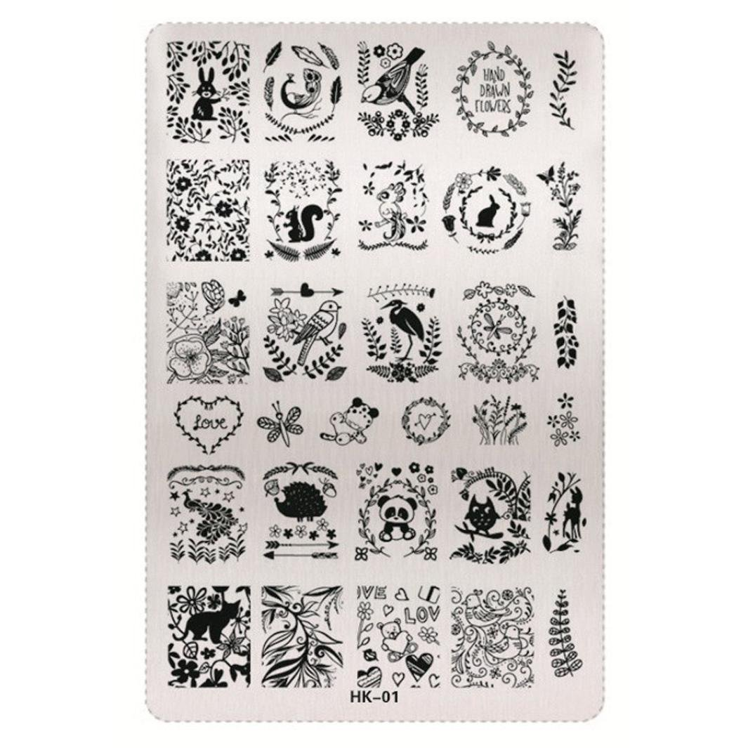 Mingfa.y Nail Art Stickers-Christmas Pattern DIY Nail Art Image Stamp Stamping Plates Manicure Template (H) VEDABC2598