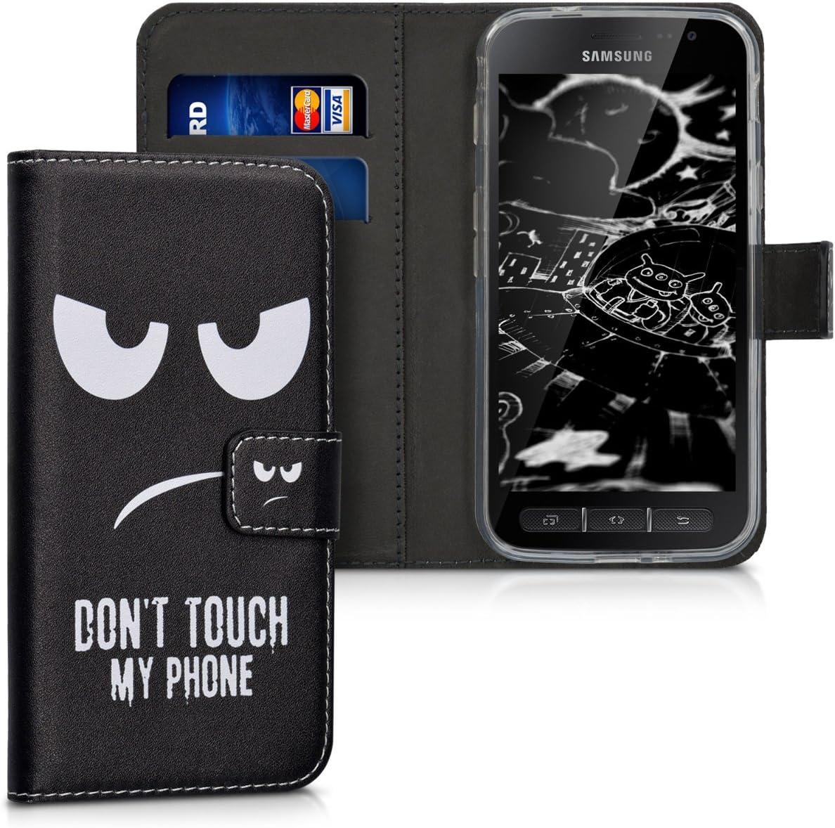 Kwmobile Hülle Kompatibel Mit Samsung Galaxy Xcover 4 4s Kunstleder Wallet Case Mit Kartenfächern Stand Don T Touch My Phone Weiß Schwarz Elektronik