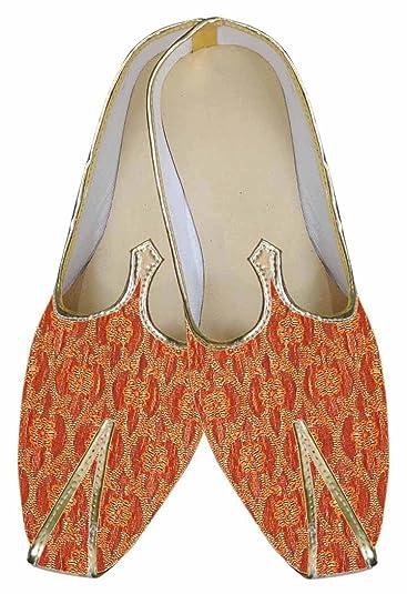 Mens Orange Brocade Indian Shoes MJ0014
