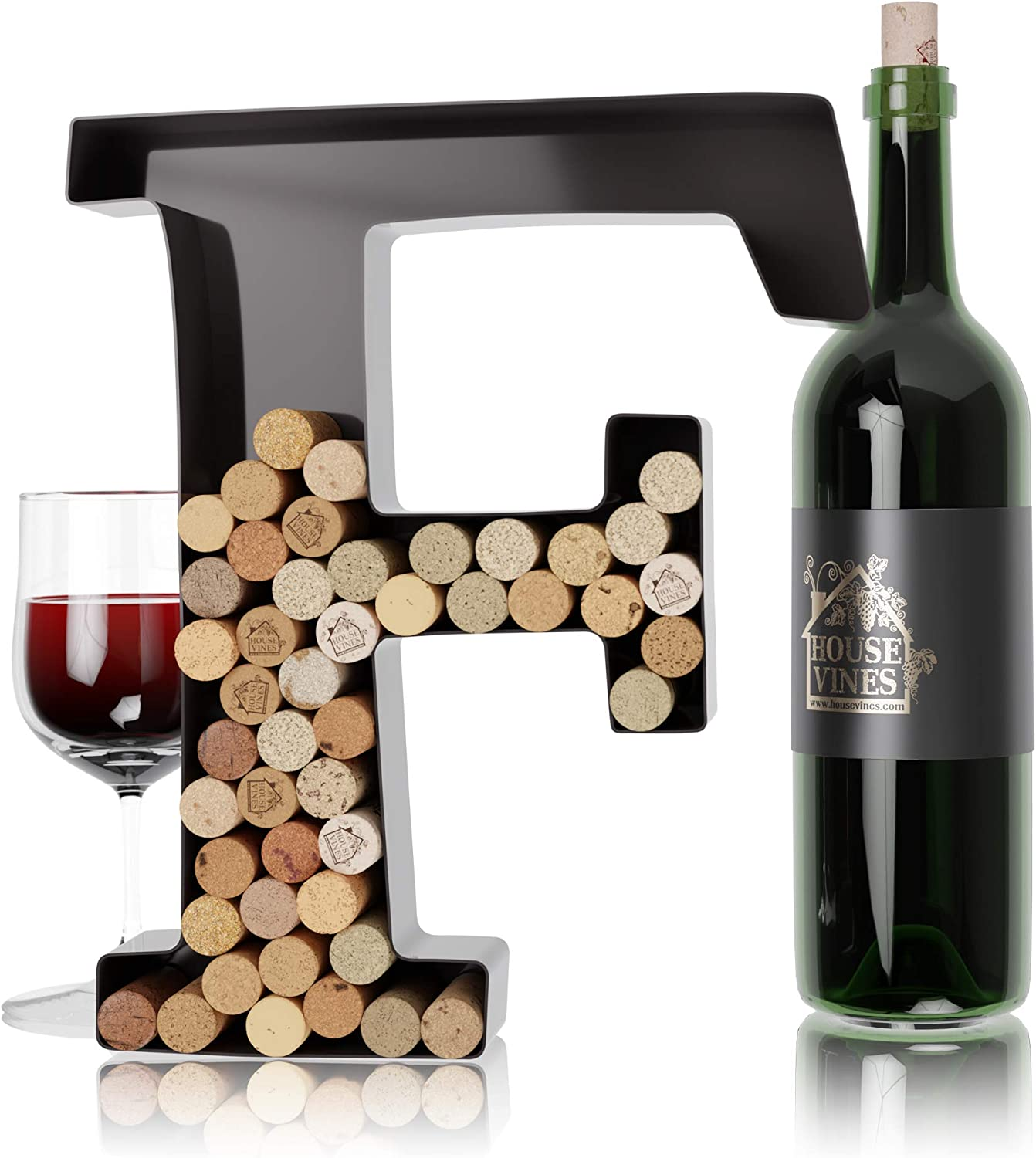 Wine Letter Cork Holder Art Wall Décor ~ Metal Letter Wine Cork Holder Monogram ~ Individual Wine Letter Cork Holders A Thru Z ~ Gifts for Wine Lovers ~ by HouseVines (F)