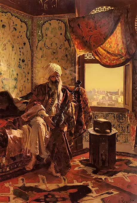 amazon com 100 hand painted old arab people smoking the hookah in