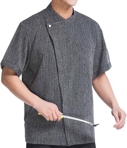 Camisa de Cocinero Manga Corta Lino: Amazon.es: Ropa y accesorios
