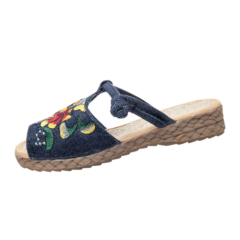 Frestepvie Espadrilles Sandales Femme Fille Imprimé Brodé Femme Plats Plage Chaussons Sabots Mules Pantoufle Chaussures Chaussons Plage Été Bleu 09e992b - piero.space