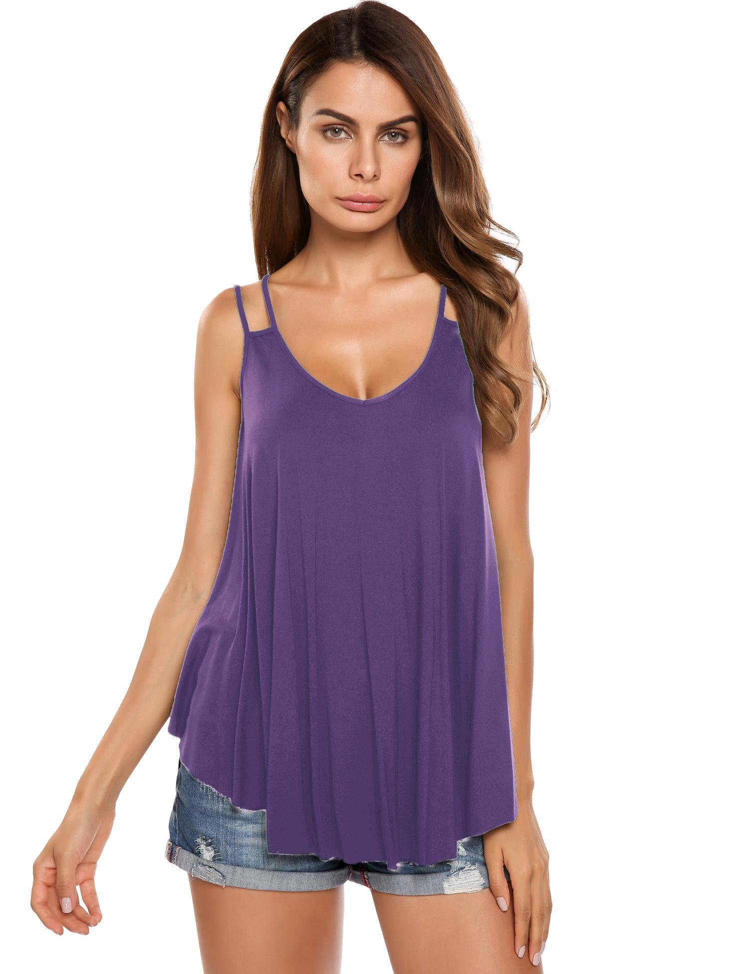 Instom Women's Casual Strap Cami Blouse Pleated Sleeveless Summer Flowy Tank Top