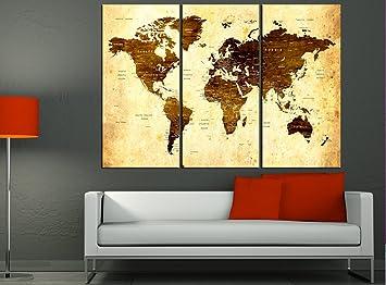 Amazon large world map canvas huge large world map wall art large world map canvas huge large world map wall art push pin travel map print gumiabroncs Choice Image
