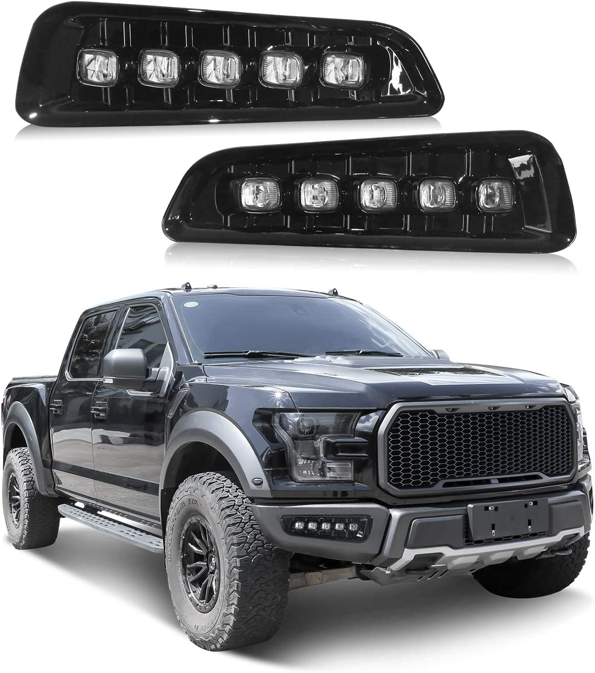 Tecoom Bumper Fog Lights for Compatible with 2015-2019 F150 Raptor Set of 2