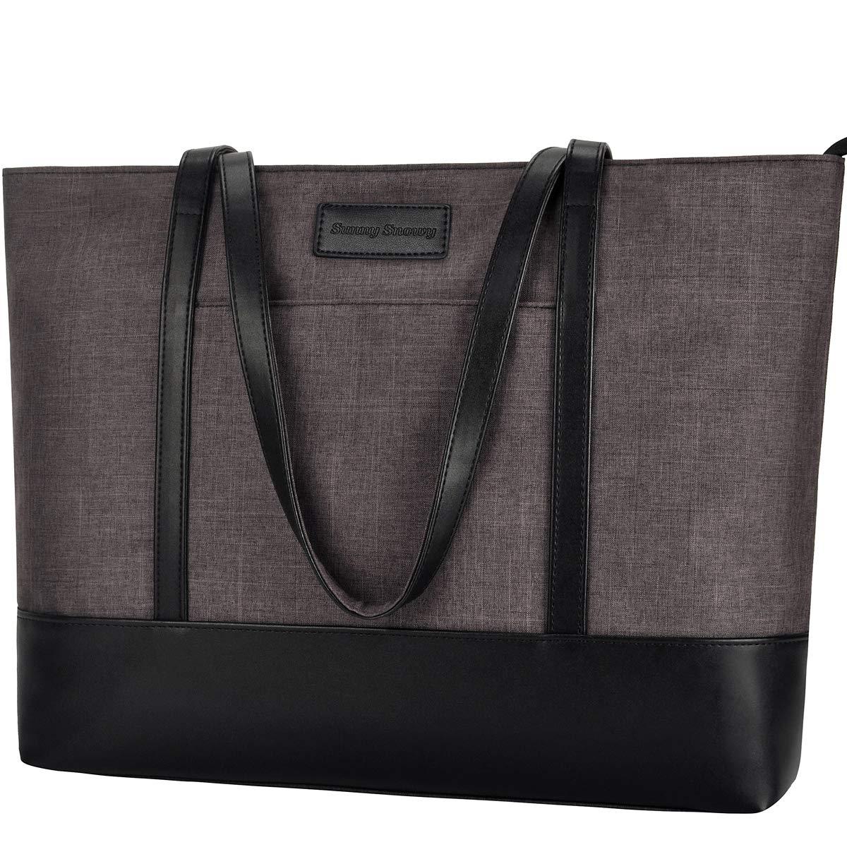 Laptop Bag,15-15.6 Lightweight Multi Pockets Large Laptop Tote Bag Shoulder Bag[Brown]