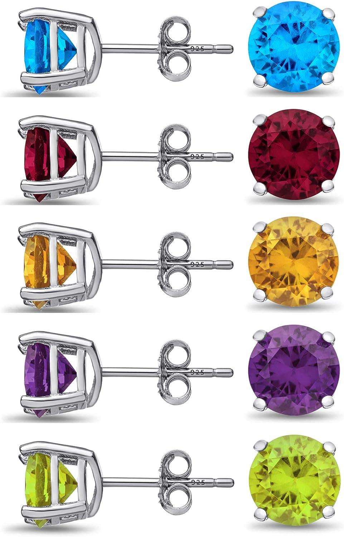 Set of 5 Quantity limited Sterling Silver Stud Amethy Product - Genuine Gemstone Earrings