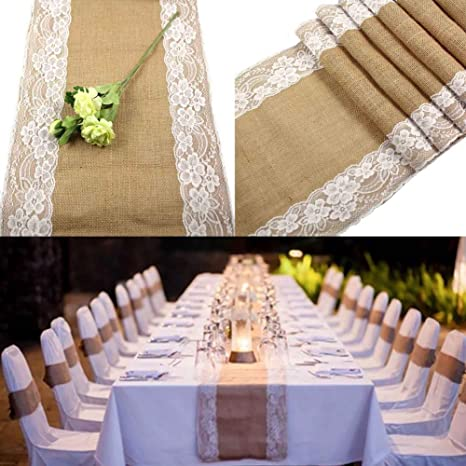 Amazon Com Ourwarm Burlap Lace Hessian Table Runner Jute Country Outdoor Wedding Party Decor Kitchen Dining
