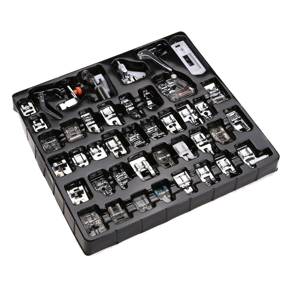 42 pcs Kit de máquina de coser, Eleoption multifuncional prensatelas para uso doméstico para máquina de coser dobladillo partes pie juego de accesorios de ...