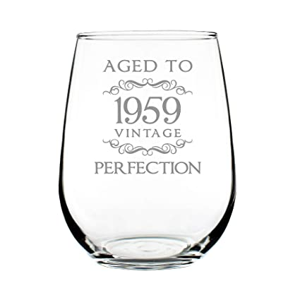 1959 60th Birthday Gifts Stemless Wine Glass For Women Men