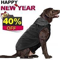 IREENUO Dog Anti-Static Warm Plush Liner Nylon Waterproof Windproof Jacket (Black)