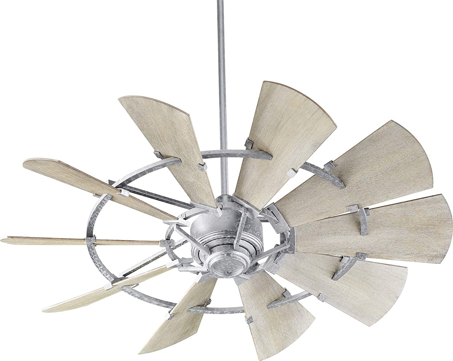 "Quorum 95210-9 Windmill 52"" Ceiling Fan with Wall Control, Galvanized"
