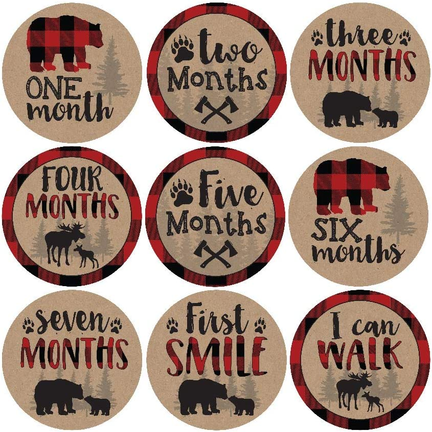 Amazon Com 16 Woodland Bear Baby Milestone Stickers Rustic Winter 12 Monthly Photo Picture Props For Boy Or Girl Infant Onesie 1st Year Months Belly Decal Scrapbook Memory Registry Gift Lumberjack Shower Idea