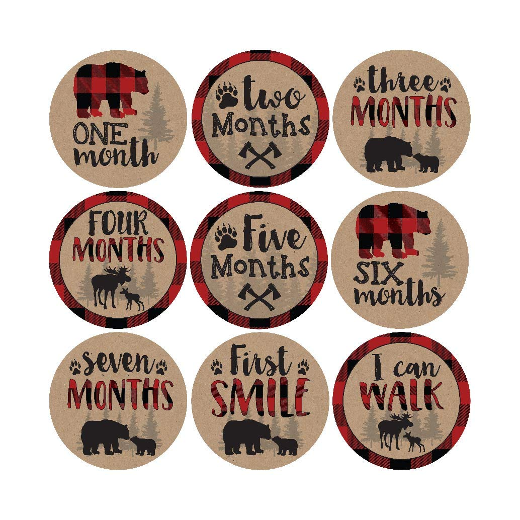 16 Woodland Bear Baby Milestone Stickers, Rustic Winter 12 Monthly Photo Picture Props For Boy or Girl Infant Onesie, 1st Year Months Belly Decal, Scrapbook Memory Registry Gift Lumberjack Shower Idea 71Sgt7VoaML