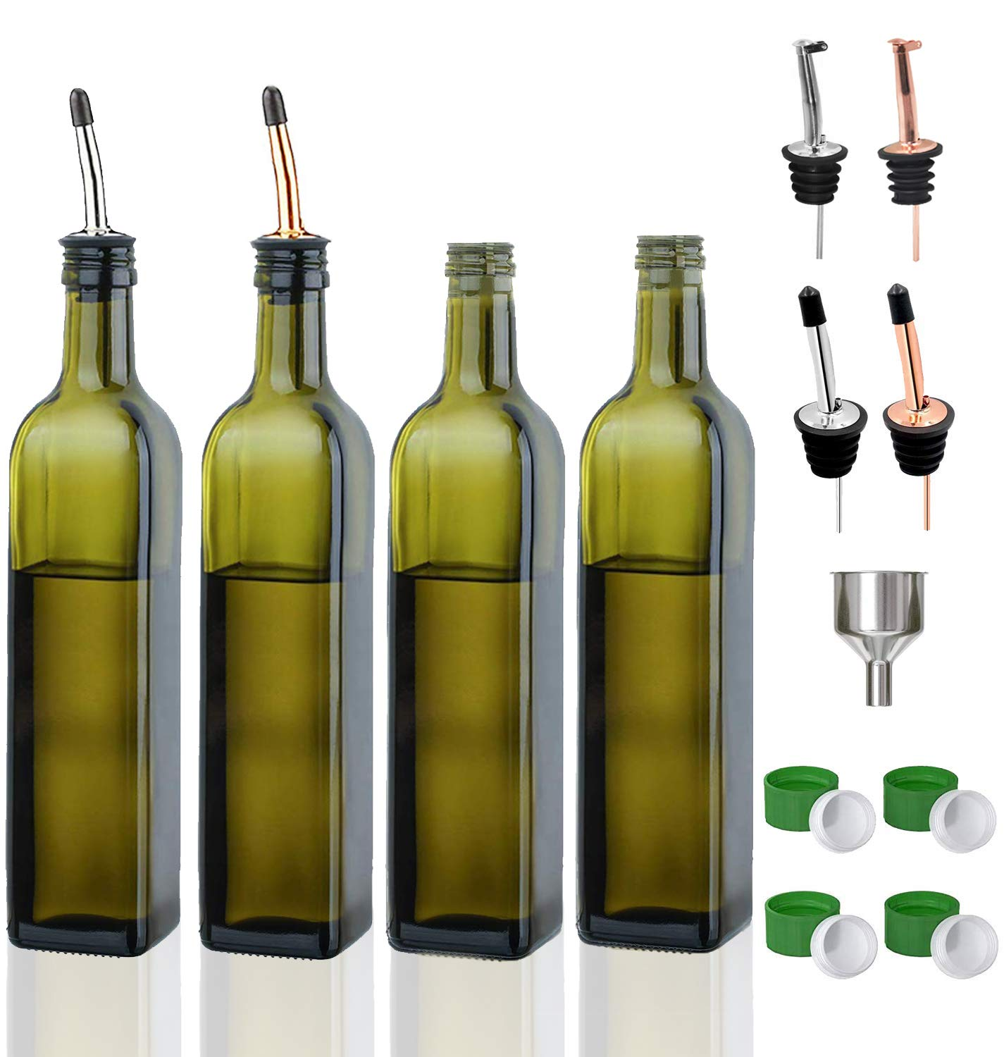 Olive Oil Dispenser Bottle-4 Pack of 17 oz Glass Olive Oil Bottles with Easy Pour Spout Set - Oil and Vinegar Cruet Set with Food Grade Funnel Drip Free Olive Oil Carafe Decanter for Kitchen by Gmisun