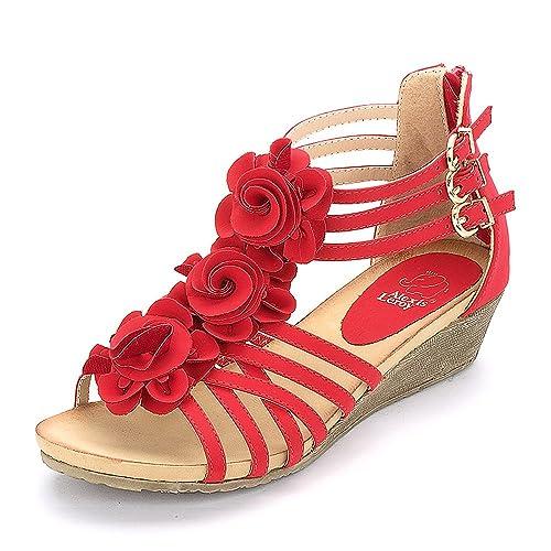 Alexis Leroy Blumen T-Spangen Damen Römersandalen Sandalen mit Keilabsatz