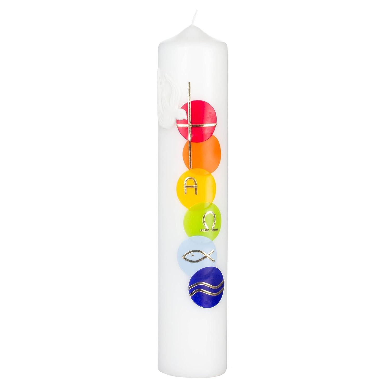 Premium Taufkerze regenbogen /Ø 30 x 450 mm