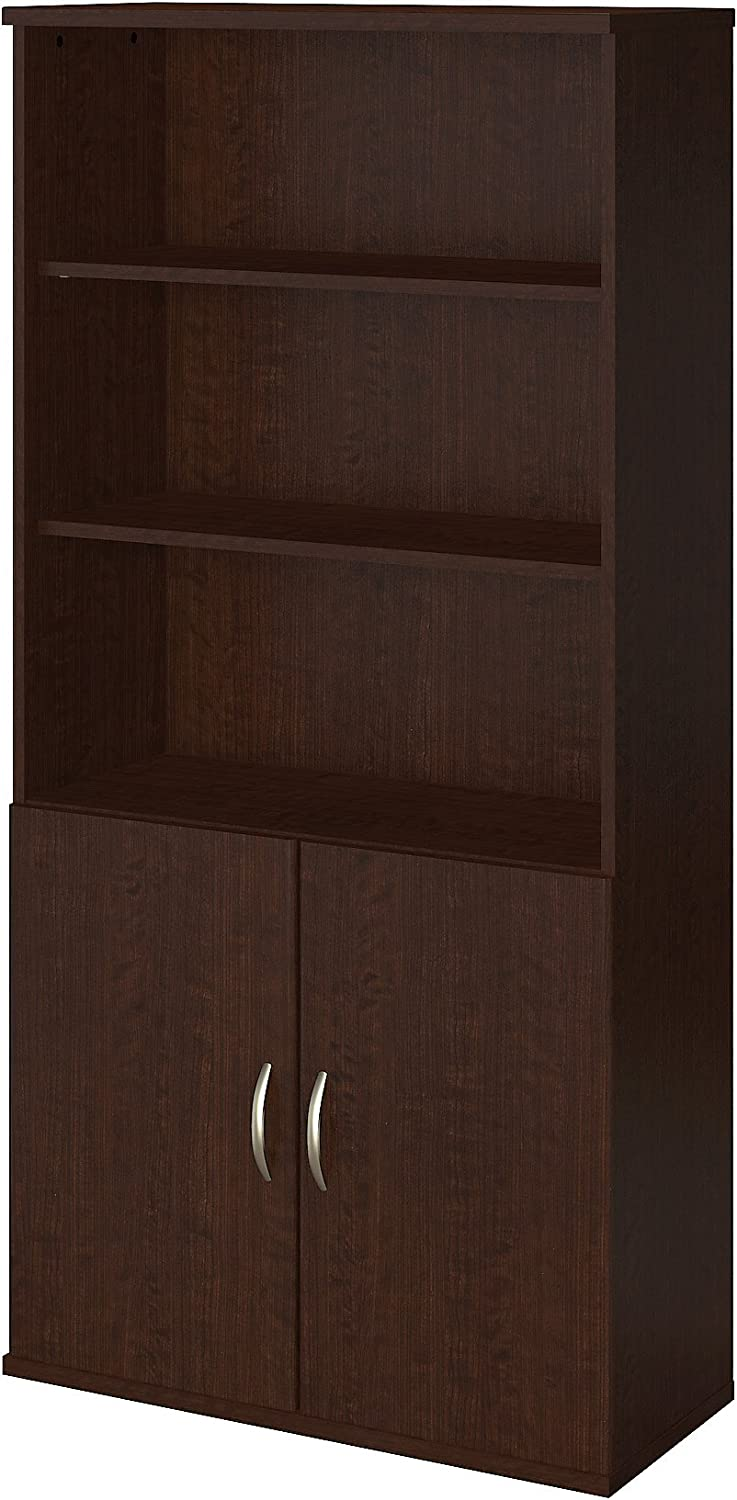 Bush Business Furniture 36W 5 Shelf Bookcase with Doors in Mocha Cherry