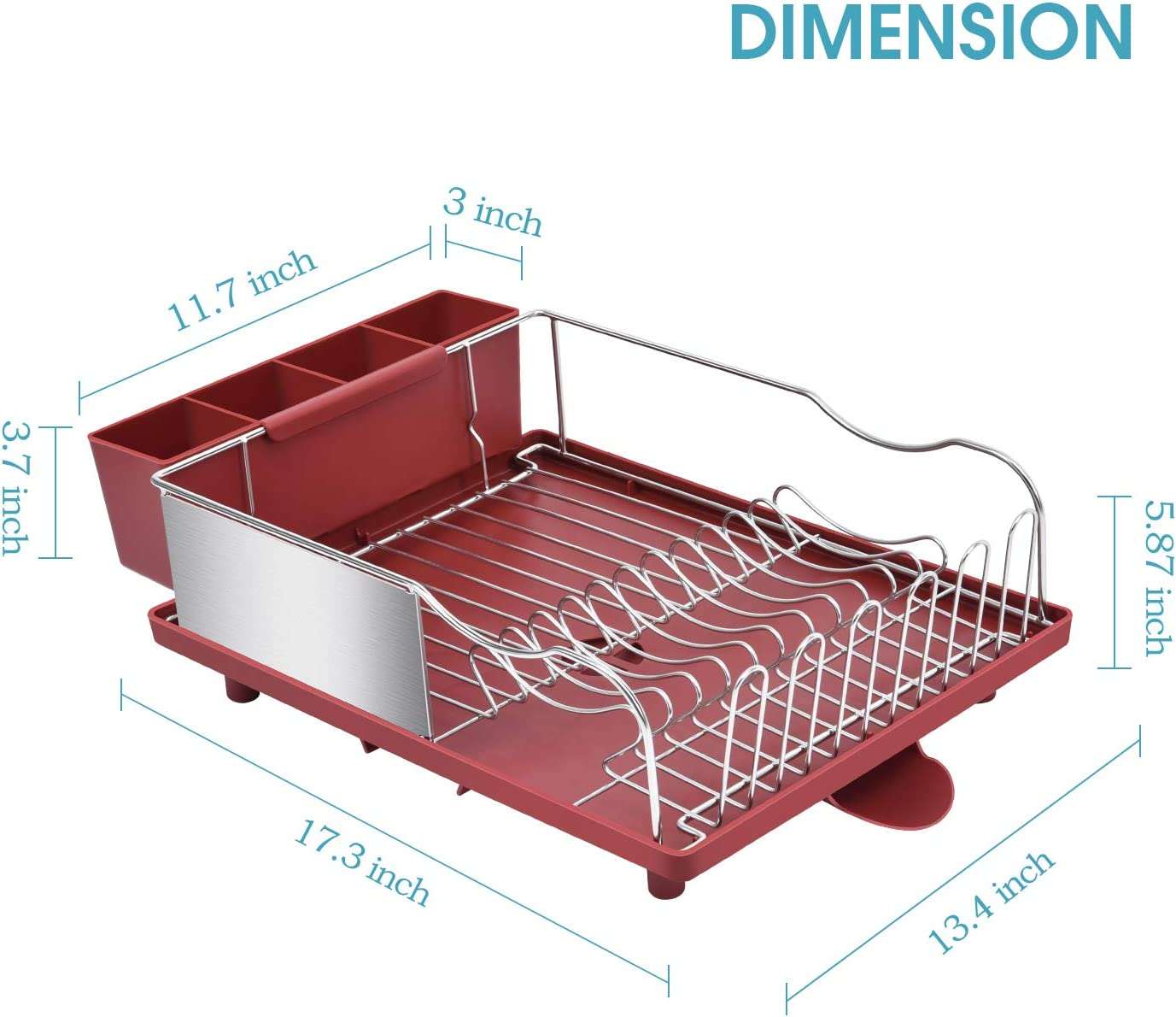 Removable /& Large 4 Compartment Utensil Holder for Kitchen Countertop Dish Rack with Anti-Rust Frame Black TOOLF Stainless Steel Dish Drying Rack Optional 2 Direction Spout Drain Board Design