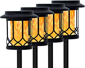 CHARMELEON Solar Flame Torch Lights Outdoor, Dual-use Decorative Lamp with Dancing Flames Torches, Garden Patio Decorations Lighting 4 Pack