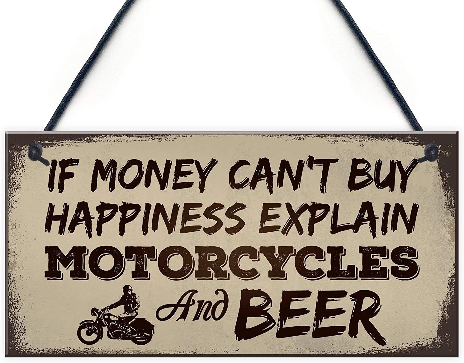 "Meijiafei Beer Motorcycle Enthusiast Motorbike Man Cave Sign Garage Vintage Dad Grandad Gift for Him 10"" X 5"""