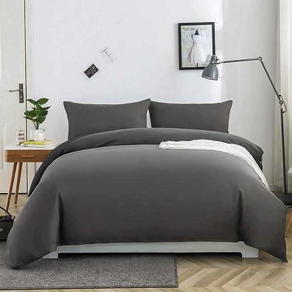 Mohap Zippered Duvet Cover Set 3 Pcs Double Plain Brushed Microfiber Bedding Duvet Cover With Pillowcases Grey Amazon Co Uk Kitchen Home