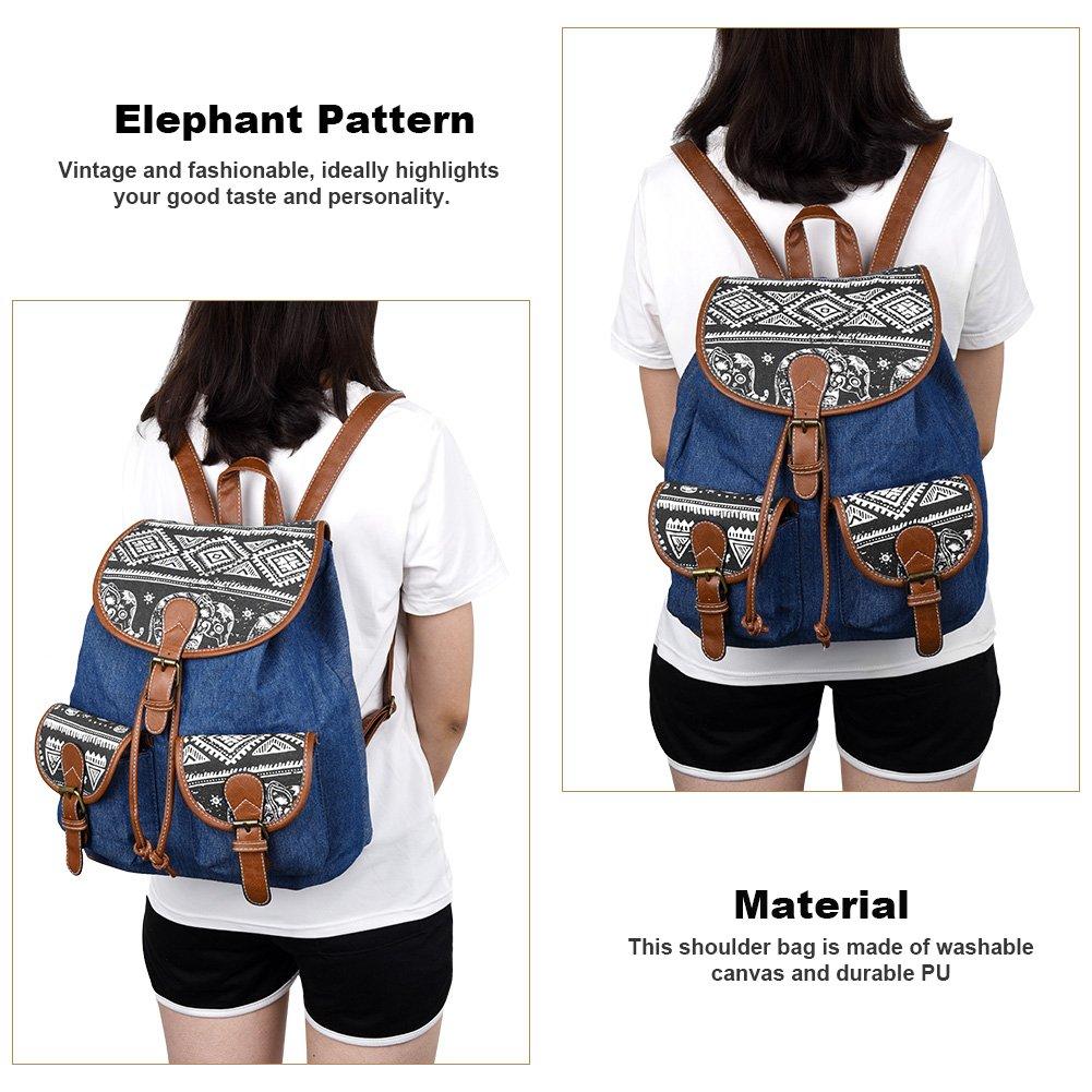 Vbiger Canvas Backpack for Women & Girls Boys Casual Book Bag Sports Daypack (Elephant Black1) by VBIGER (Image #8)