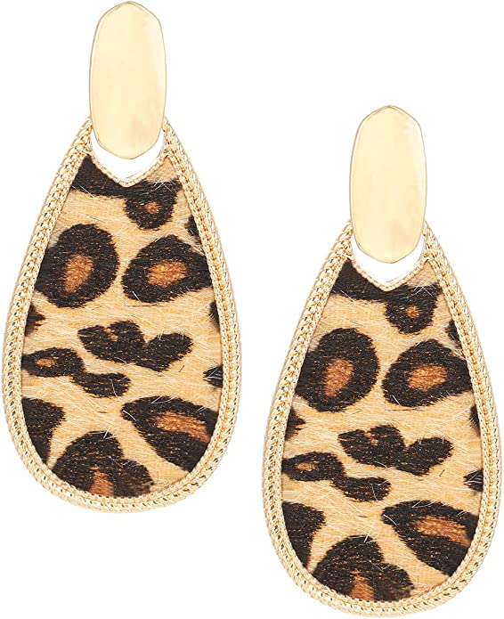 Imitation Animal Leopard Earring Findings 4 pcs Leopard Snake Leather PU Hoop Pendant Charms